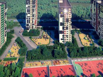 Спортивные площадки, зоны озеленения на территории